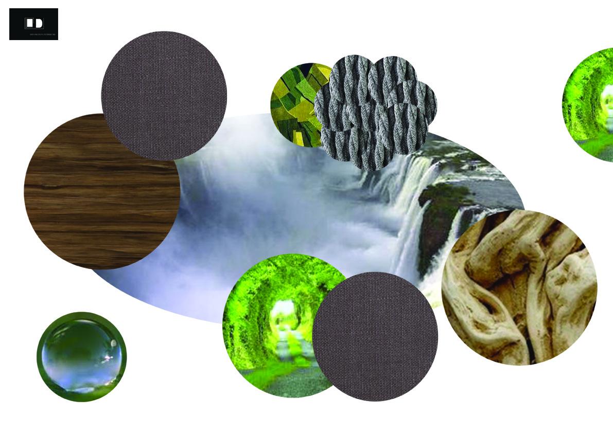 PLANCHE CONCEPT  évoquant l'écologie de part la fibre, le bois, l'eau, la végétation