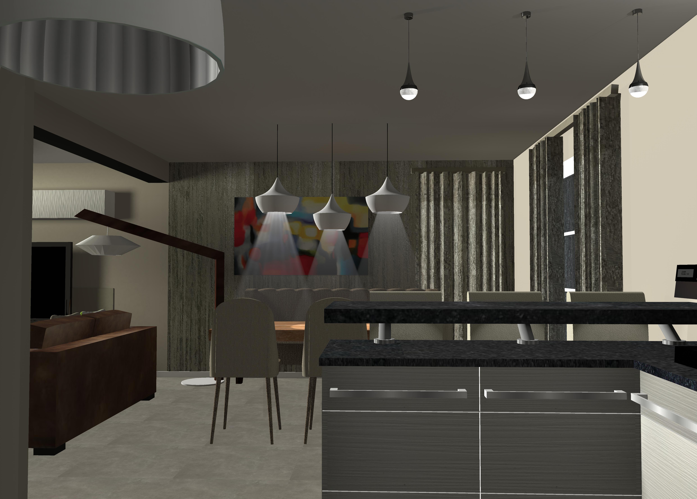 Aménagement et décoration d'un salon contemporain